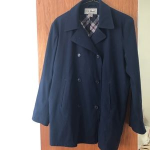 L.L. Bean Navy Blue Coat Women's Sz M Plaid